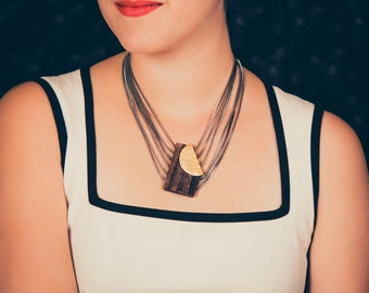 Reversible wooden and golden necklace - Handmade in Montreal - Dalia 02 wood (LUV Collection)