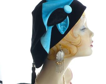 Oversize Turquoise and Black Velvet Floppy Slouchy Beret