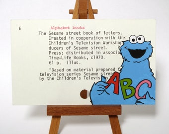 Cookie Monster on Library Card - Print of my painting of Cookie Monster on card for The Sesame Street Book of Letters - ABCs