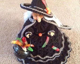 Handmade Crochet Witch Candy Dish Doll