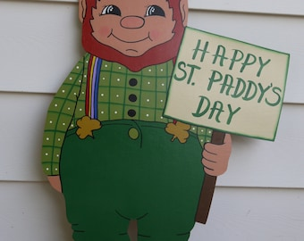 Happy St St. Paddy's Patrick's Day Leprechaun Yard Lawn Art Decoration