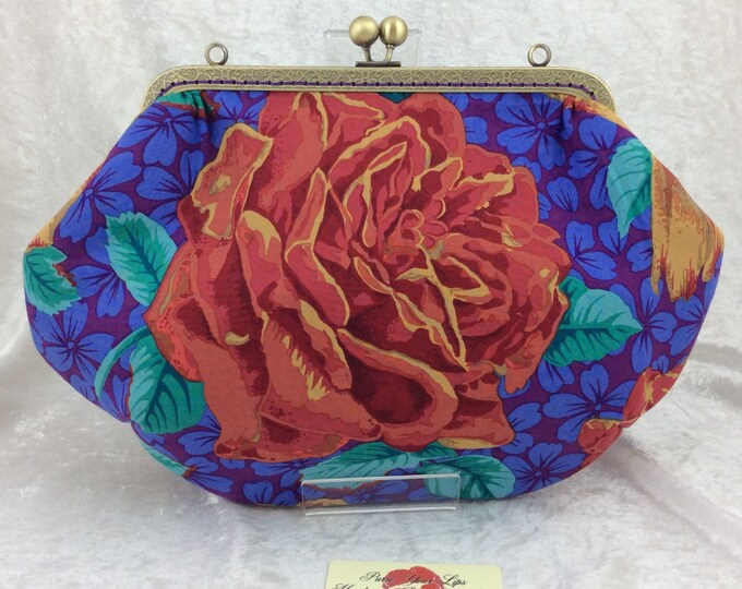 Roses Fabric purse bag frame handbag fabric clutch shoulder bag frame purse kiss clasp bag Kaffe Fassett Philip Jacobs flowers Rose Blooms