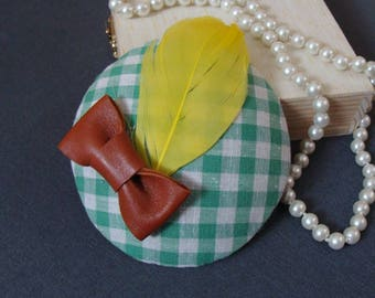 fascinator plaid with feather