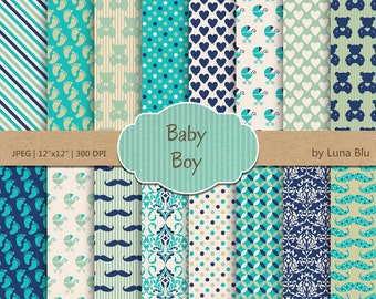 """Baby Boy digital paper pack: """"It's a Boy"""" blue green and turquoise with hearts, stars, bears, dots, damasks, baby feet, baby scrapbook paper"""