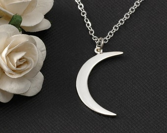 Moon necklace, sterling silver crescent moon necklace