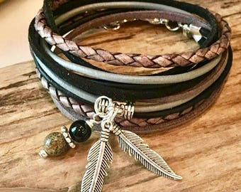Boho Wrap Bracelet, Braided Leather Bracelet, Gray, Black, choose your charm, Gypsy Wrap, Custom, Double wrap, Gift for Her