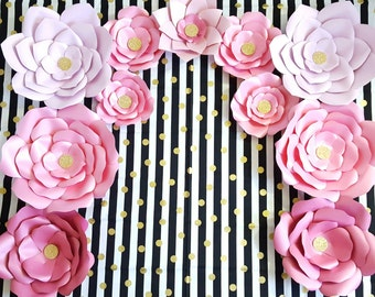 Giant Paper Flowers, Pink Gold Paper Flower Backdrop, Giant Flower Nursery Decor, Graduation Backdrop, Sweet 16 Backdrop, Baby Shower Decor