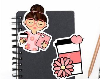 SALE Planner Die Cuts Printable, Planner Girl Die Cuts, Coffee Die Cuts, Girl Die Cuts, Scrapbook Die Cuts, Planner Accessories - Office