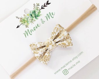Mini Gold Damask Bow | The Evelyn Bow