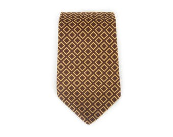 "Vintage Necktie / Wide 3.75"" Polyester Tie / Brown & Tan Sears Gentlemen's Necktie / Mens Tie / Mens Neckties / Guys Necktie Gifts for Guys"
