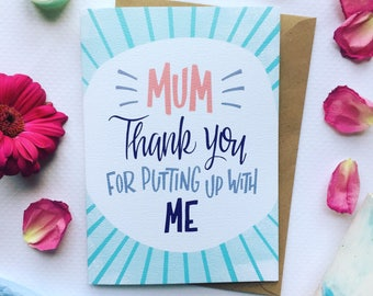 Funny Mothers Day Card, Mothers Day Greetings Card, Mum Thank you Card, Funny Greetings Card For Her