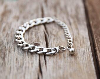 BIG Silver Bracelet, Adjustable Silver Chain Bracelet, Silver Bracelet, Adjustable Bracelet, Chain Bracelet, Simple Silver Bracelet