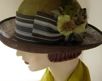 Two-tone Olive and Brown Cloche with Striped Hatband