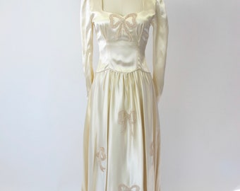 1940s Silk Wedding Gown with Bows
