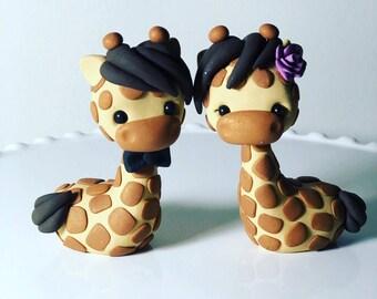 Handmade Giraffe Wedding Cake Topper