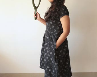 Knots & Crosses, Black Ikat Dress