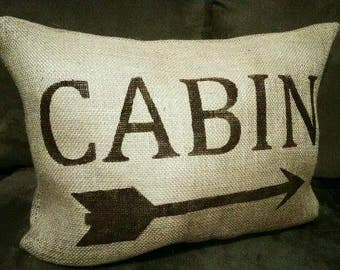 Burlap Pillow, Cabin Pillow, Cabin Decor, Burlap Cabin Pillow, Country Primitive, Arrow Pillow, Arrow Decor, Camping Decor, Cabin, River Lot