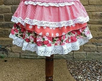 ON SALE Red layer bustle, festival hip skirt, ruffle overskirt, Tribal belly dance costume, eco repurposed clothing, boho hippie wear, Gift