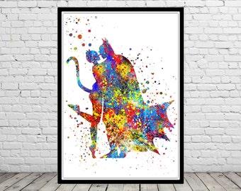 Catwoman and Batman inspired, Print, Catwoman, Batman, Marvel, Superhero, Watercolor Art, Kids Room Decor, Poster, Superhero (2403b)