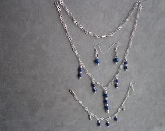 Sliver.925 necklace, bracelet, earring set with lapis.