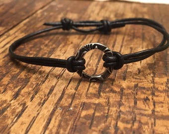 Bracelet pewter ring leather bracelet