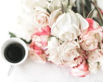 Paris Photography // Kitchen Art // Espresso Wall Art // Flower Prints // Rose Decor Art // Floral Art Prints // White Flowers Wall Art