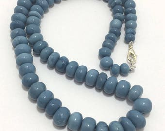 Natural Blue Opal Smooth Rondelle Beads, 7mm to 11mm, 18 inches, Blue Beads, Opal Beads, Gemstone Beads, Semiprecious Stone Beads
