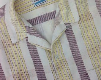 1950's Cotton Flannel Plaid Shirt / Super Soft Fabric / Unusual Color Combo / MENS SIZE LARGE