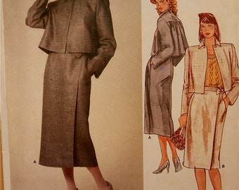Jacket & Skirt by Perry Ellis - 1980's - Vogue American Designer Pattern 1354 Uncut  Size 10   Bust 32.5""