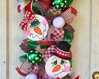 Christmas wreath, Christmas swag, Deco mesh wreath, snowman wreath, winter wreath
