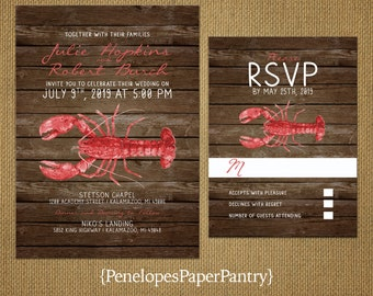 Rustic Beach Wedding Invitation,Red Lobster,East Coast,Rustic,Wood Background,Customize,Printed Invitations,Wedding Set,Optional RSVP Card