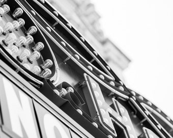 Vintage Theater Lights // The Hollywood Theater, Portland, Oregon // Black and White Fine Art Photography // Giclée Print
