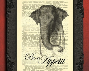 bon appetit print bon appetit sign paris french quote print elephant wall art