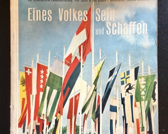 Swiss table book from 1939 Mid Century modern The People and Their Work Eines Volkes Sein Schaffen