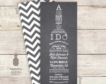 Stock the Bar Couples Engagement Party Invitations - Chalkboard Inspired