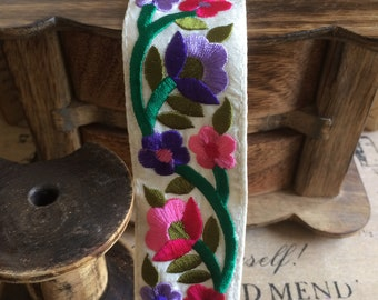 Persian floral stripe embroidered flowers lotus purple & pink satin off-white 4 cm
