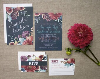 Dark Elegant Fig and Dahlia Watercolor Wedding Stationery - SAMPLE - Floral Watercolour Wedding Invitations - Artwork by Alicia's Infinity
