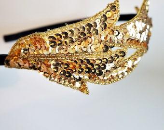 Serre tête en perles paillettes d'or