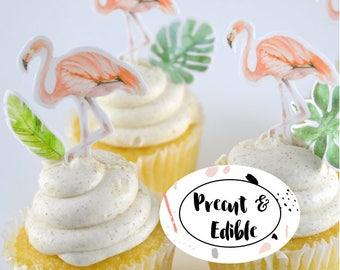 Flamingo topper, flamingo cupcake topper,flamingo cake topper  , edible flamingo, edible cupcake topper ,precut & edible