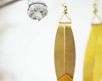 Baltic Amber Brass Feather 14K GF Hook Earrings
