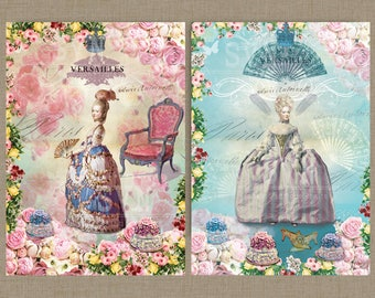 Marie Antoinette Digital Collage Sheet Download 2 A3 - Ready for Printing -