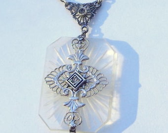 Vintage Quartz Crystal Camphor Glass, Diamond Necklace, Sterling Silver, Victorian, Art Deco Style