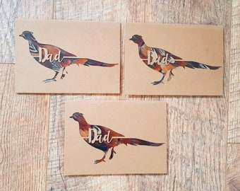 "DAD"" Pheasant Silhouette Feather Card in Kraft"