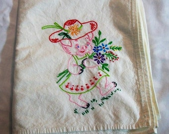 Embroidered Flour Sack Towel, Pink Pig, Dish Towel, Embroidered Kitchen Towel, Pig Going to Market