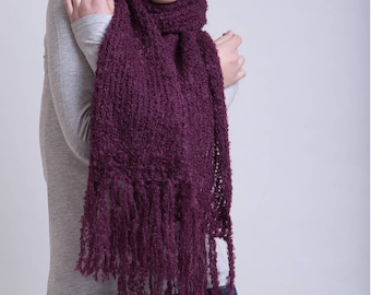 Natural Mohair Scarf in Aubergine