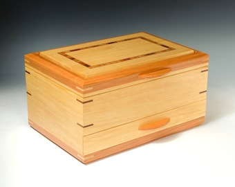 Handcrafted Jewelry Box of Satinwood with African Cherry Accents
