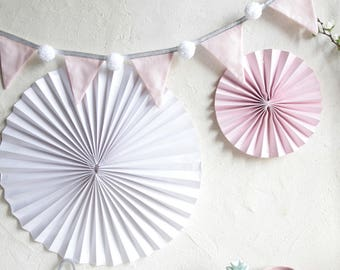 Garland light pink flags white PomPoms