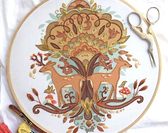 Autumn Love DIY Hand Embroidery color printed Sampler in the hoop tree and deer woodland embroidery art pattern designs