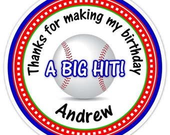 Custom Baseball Birthday Labels, Boy's Baseball Stickers, Baseball Stickers - Personalized for YOU