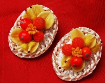 Western Germany Earring - Orange Yellow - Fruit salad  - clip on earrings